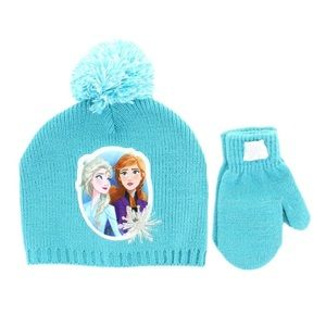 Disney Frozen II Elsa and Anna Hat and Mittens Set